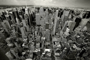 B&W Sky View of Manhattan