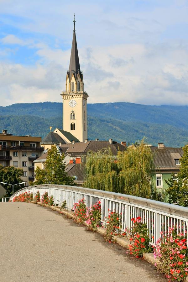 Villach - Walkway over the river Drau