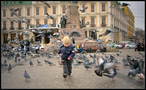 Child chases after pigeons in Iasi, Romania