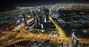 Dubai Downtown, at night, view from The Top