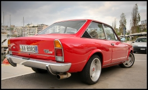 Red Fiat 124 Abarth in Piraeus Marina, Greece